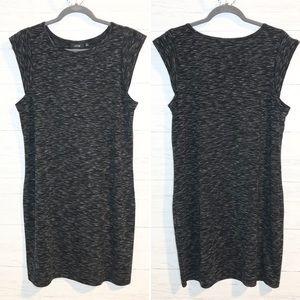 Apt 9 black & gray space dye stretch midi dress